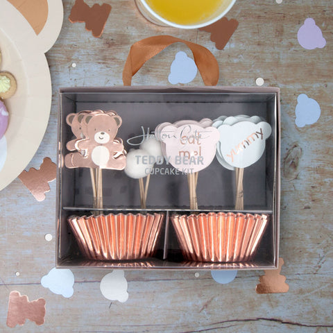 Teddy Bear Cupcake Kit 48 Cupcake Cases with 24 Assorted Picks Per Pack