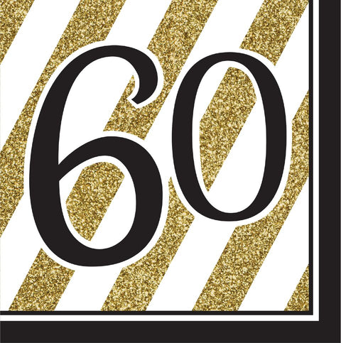 Black And Gold 60Th Birthday Napkins, 16Pk