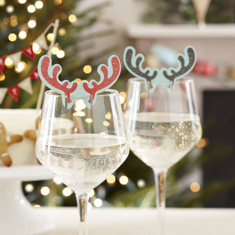10 Reindeer Antler Christmas Glass Place Cards Decorations