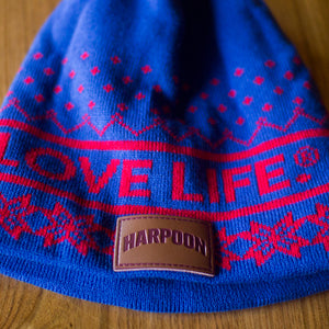 Harpoon Knit Hat - Blue/Red