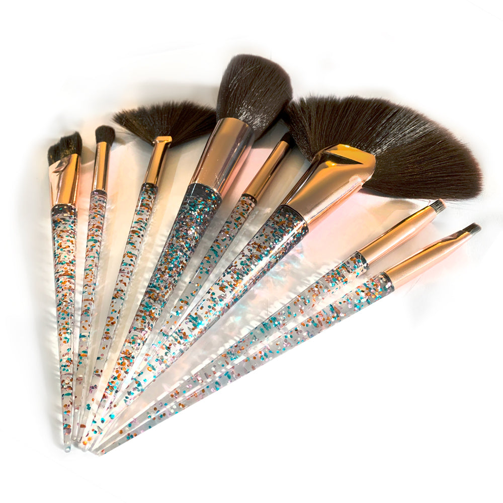 Make-up brush set 8pc | Brown & Blue