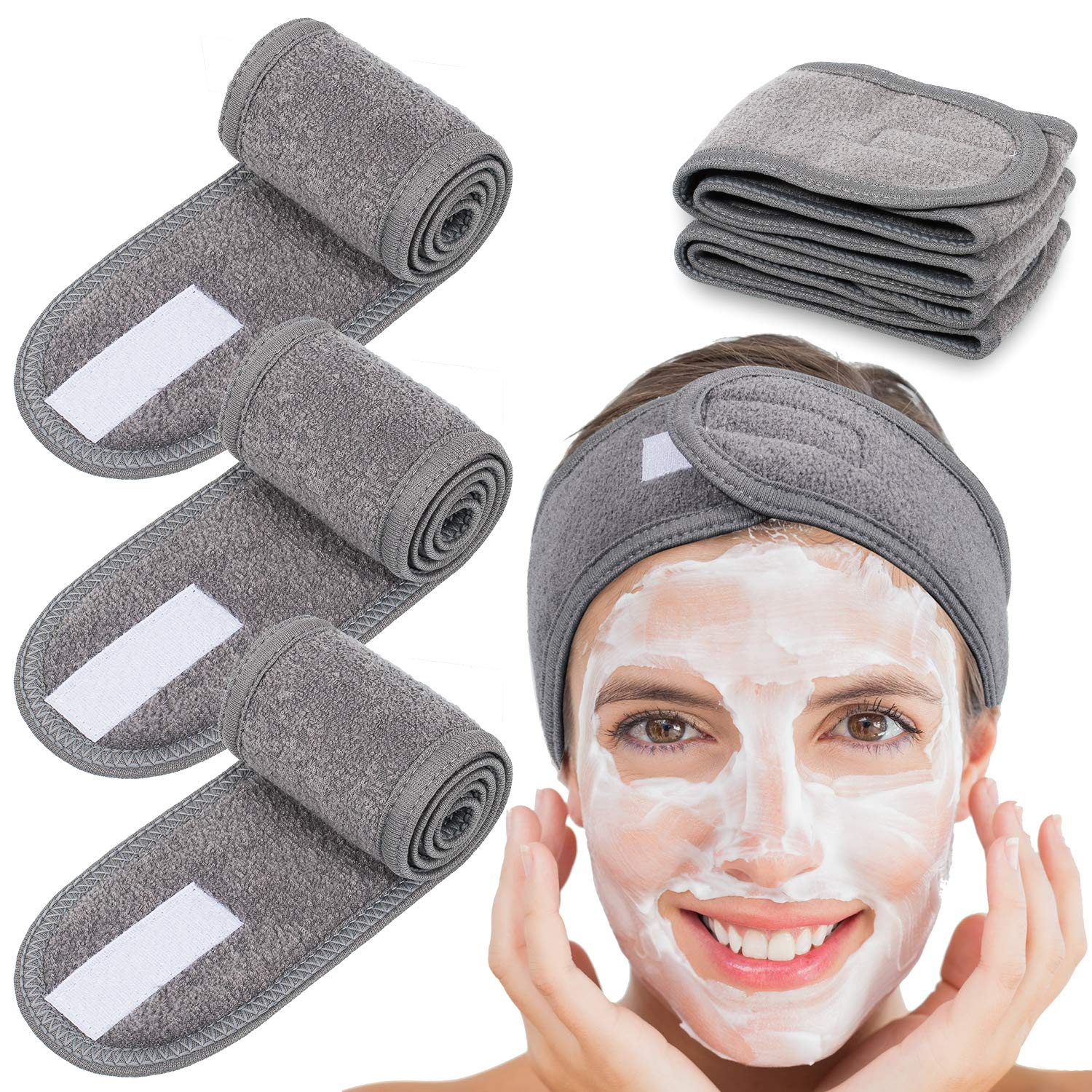 Grey deluxe microfiber spa headband