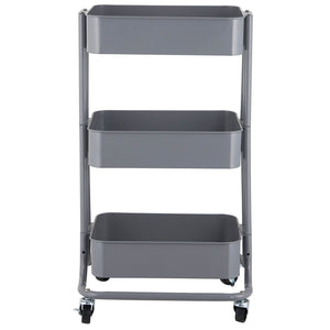 Metal Hand trolley 3 Tier - Grey (Gunmetal)