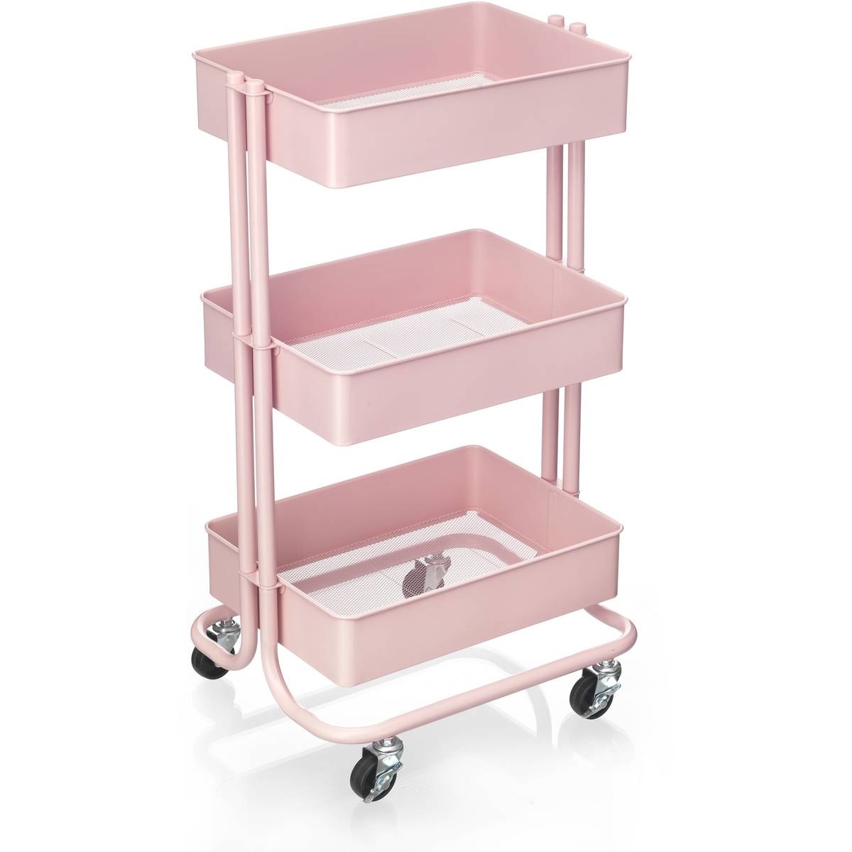 Metal hand trolley 3 tier - Pink