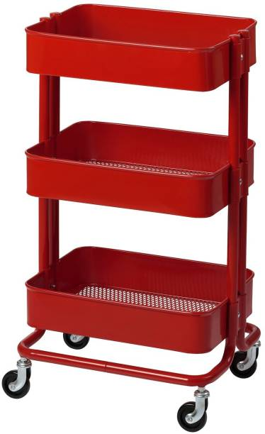 Metal Hand Trolley 3 Tier -Red