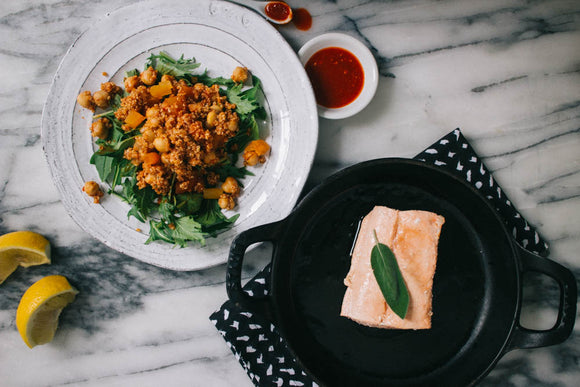 Olive Oil Roasted Salmon with Moroccan Quinoa Salad