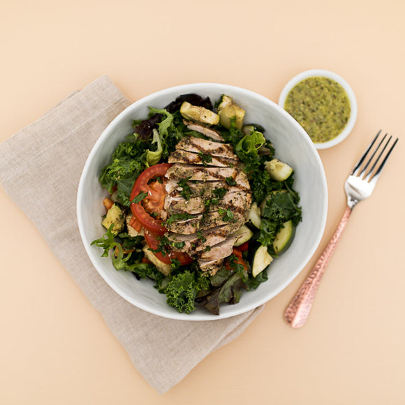 Chicken + Zucchini  Kale Pesto Salad