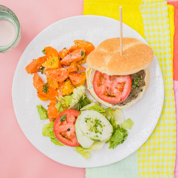 Greek Turkey Burger with Moroccan Carrot Salad