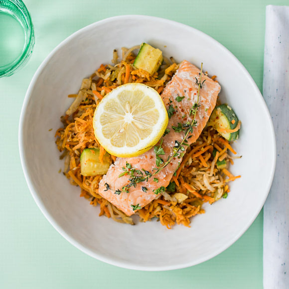 Whole30 Olive Oil Roasted Salmon with Moroccan Cauliflower