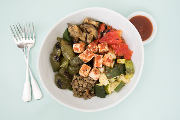 Smokey-Sweet Tofu with Lentils and Grilled Veggies