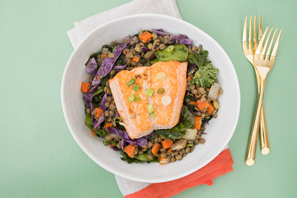 Teriyaki Salmon with Lentils
