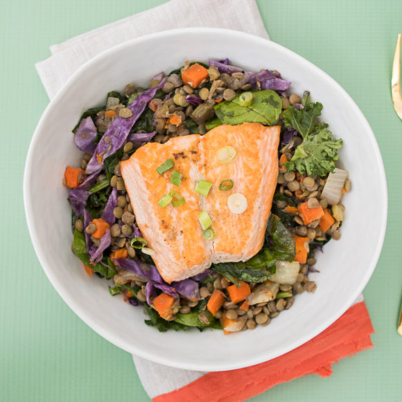 Teriyaki Salmon with Green Lentils