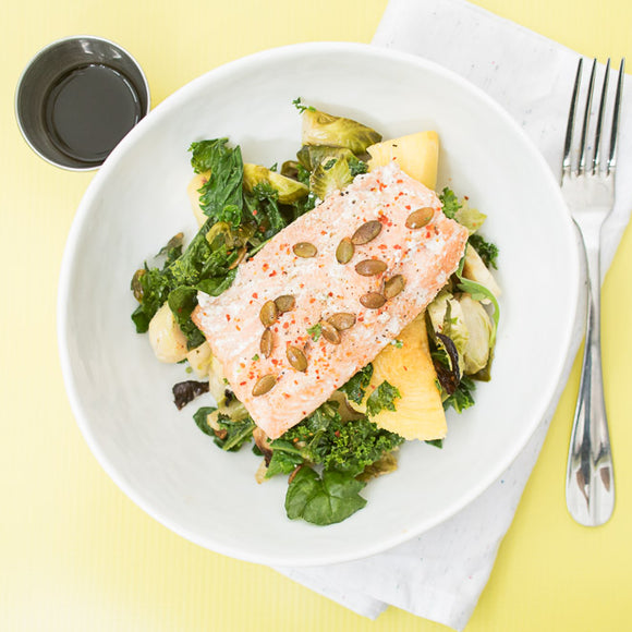 Salmon with Brussel Sprouts and Squash
