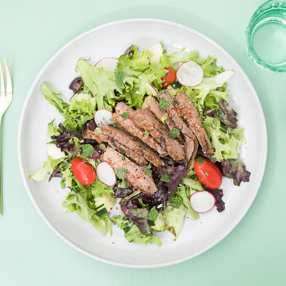 Whole30 Greek Salad with Grilled Steak