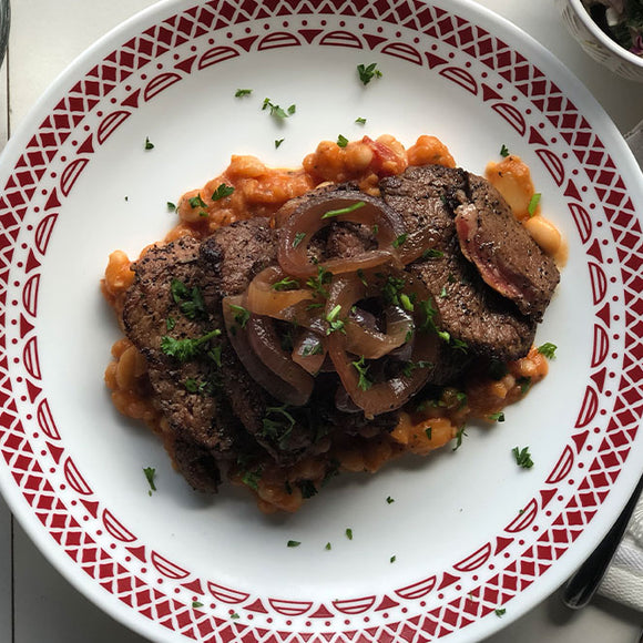 Ancho Coffee Steak with Sauteed Winter Greens and Navy Beans