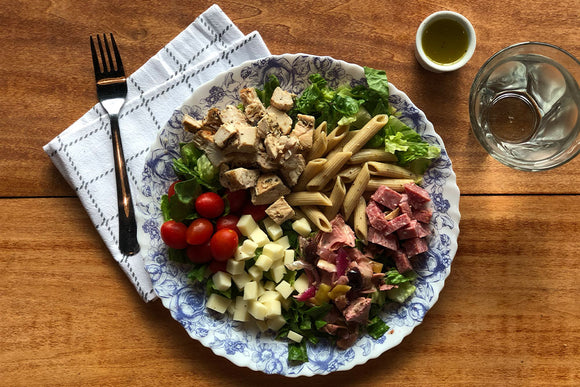 Grilled Chicken Antipasto Pasta Salad with Red Wine Vinaigrette