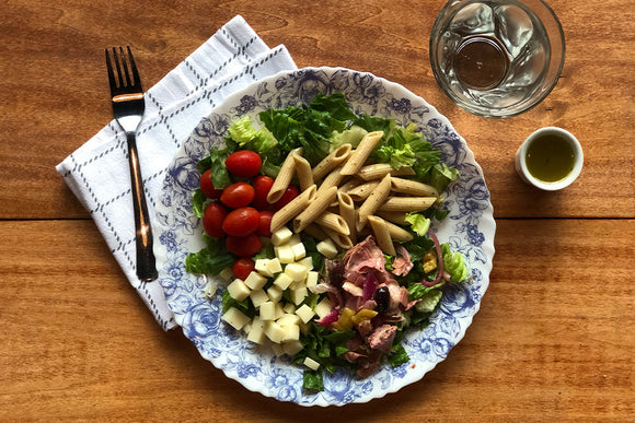 Vegetarian Antipasto Salad with Penne Pasta, Provolone Cheese, and Antipasto Veggies