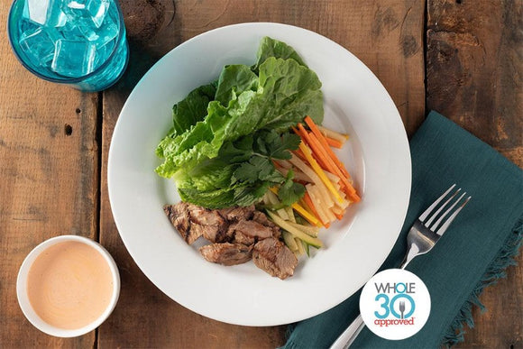 Whole30 Approved Grilled Pork Banh Mi Lettuce Wraps with Spicy Mayo