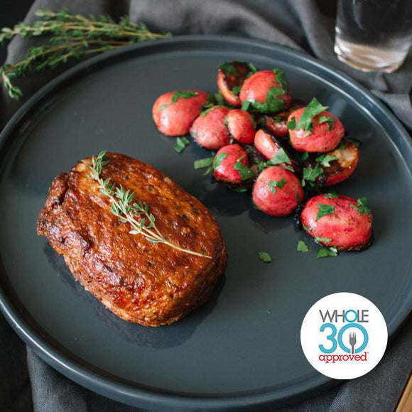 Whole30 Approved BBQ Chicken Meatloaf with Roasted Red Potatoes