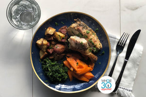 Whole30 Approved Bistro Style Roast Chicken with Yukon Gold Potatoes, Carrots and Spinach
