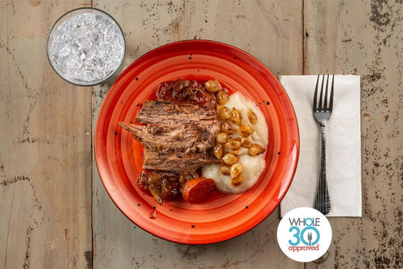 Whole30 Approved Braised Brisket with Celery Root and Potato Puree