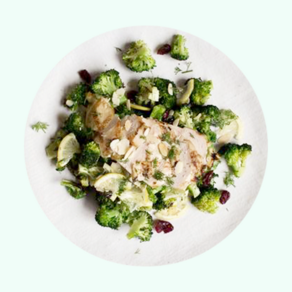 Grilled Chicken with Meyer Lemon Broccoli and Almonds