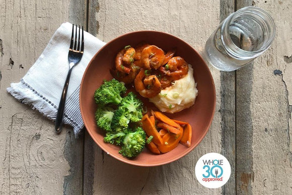 Whole30 Approved Buffalo Shrimp with Smashed Cauliflower Puree and Broccoli