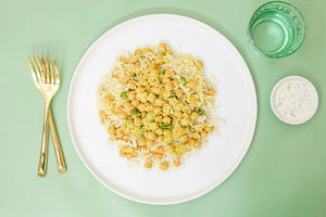 Vegetarian Chana Masala with Basmati Rice and Cucumber Raita