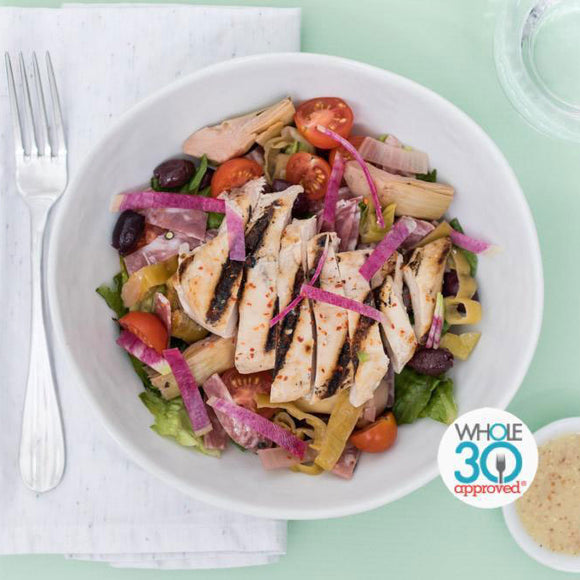Whole30 Approved Grilled Chicken Antipasto Salad with Red Wine Vinaigrette