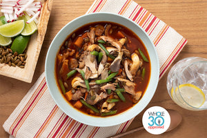 Whole30 Approved Chicken Pozole with Butternut Squash and Green Beans