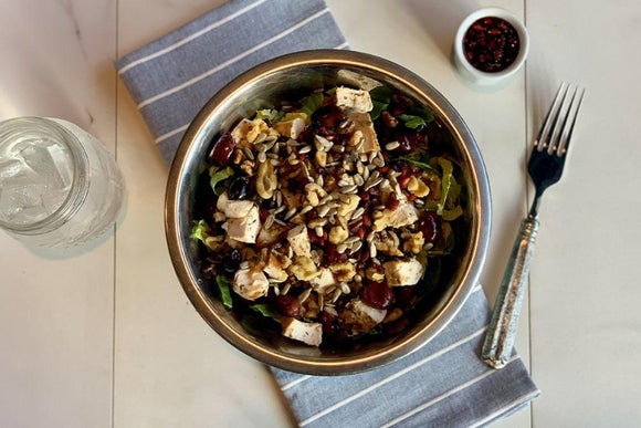 Chicken, Brussel Sprouts and Wild Rice Salad with Pomegranate Molasses Dressing
