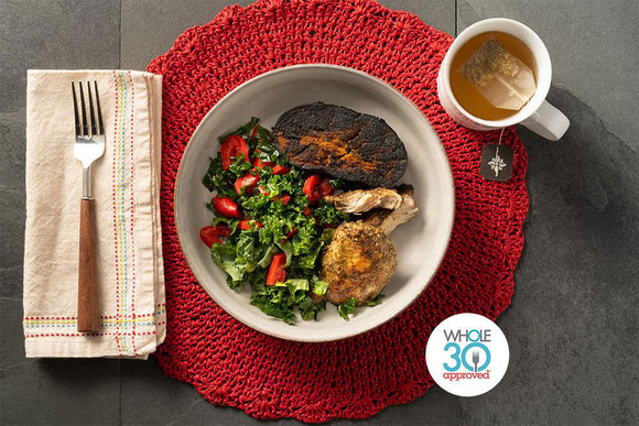 Whole30 Approved Chicken Zaatar with Roasted Eggplant and Pomegranate Dressing