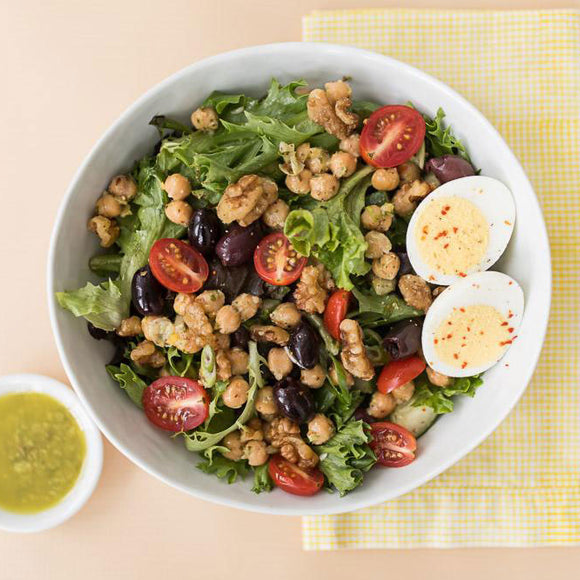 Vegetarian Chickpea and Walnut Salad with Basil Vinaigrette