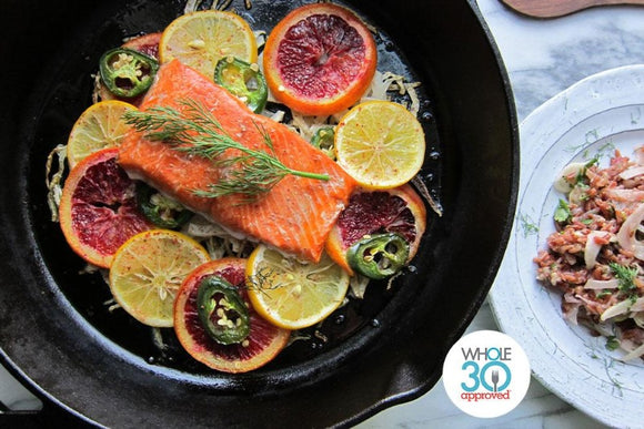 Whole30 Approved Citrus Dill Salmon with Roasted Beets