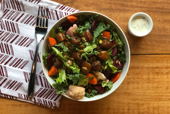 Vegetarian Roasted Dates and Kale Salad with Seasonal Pickled Vegetables and Chili Pepitas