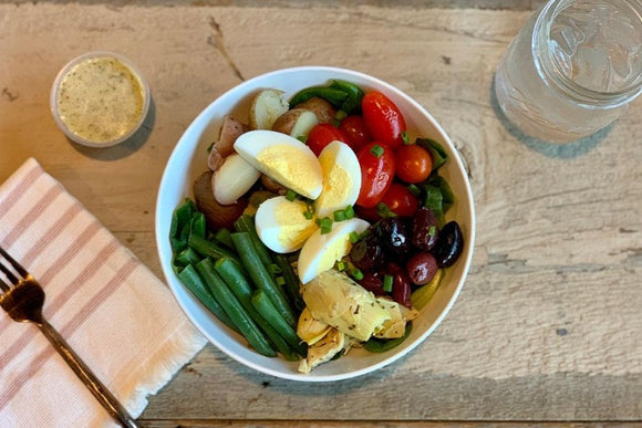 Vegetarian Egg and Artichoke Nicoise with Lemon Vinaigrette Dressing