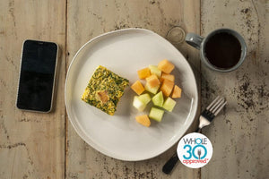 Whole30 Approved Kale and Bacon Frittata with Fruit