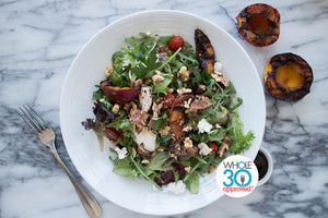 W30 Balsamic Peach Salad with Chicken and Turkey Bacon