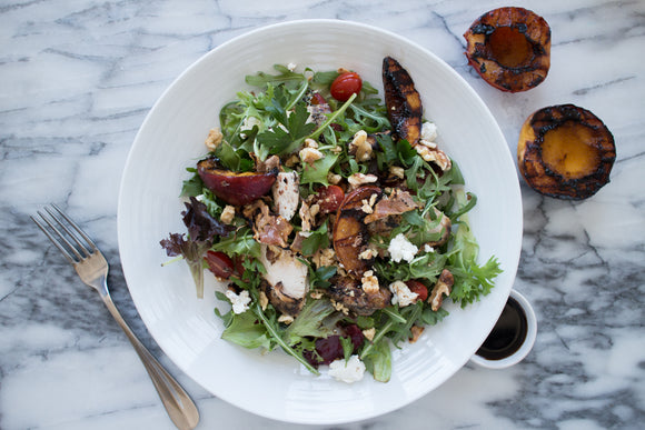 Vegetarian Balsamic Peach Salad with Farro and Goat Cheese