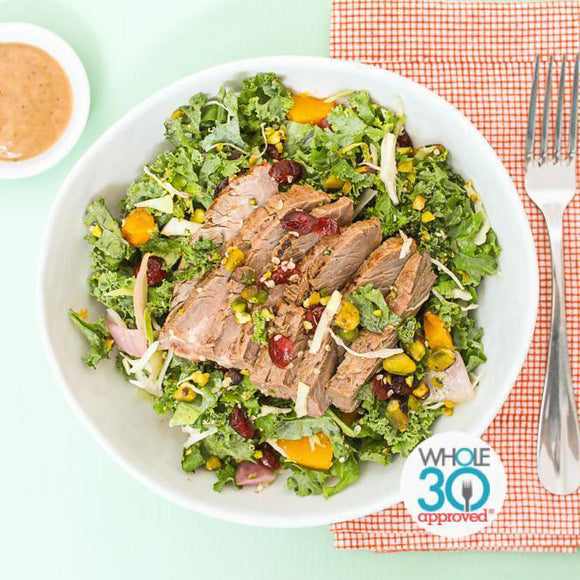 Whole30 Approved Kale, Cherry and Steak Salad with Balsamic Vinaigrette