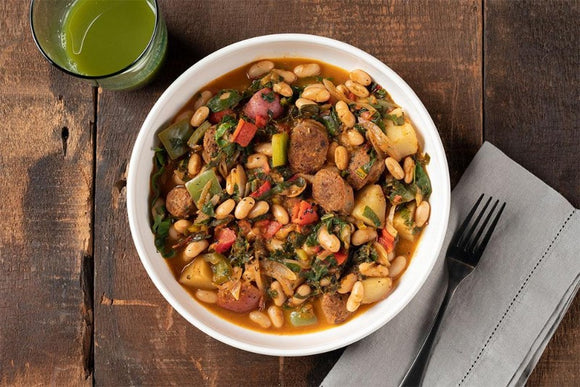Kielbasa Stew with White Beans and Rainbow Chard