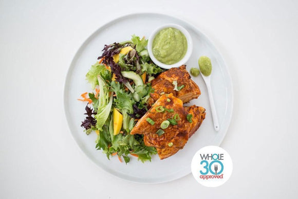Whole30 Approved Pollo Adobado with Salad and Avocado Tomatillo Dressing