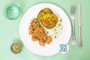 Whole30 Approved Pork Vindaloo with Turmeric Eggplant, Veggie Rice and Cilantro Mint Chutney
