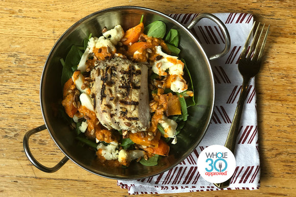 Whole30 Approved Cauliflower Romesco Bowl with Pulled Chicken, Sweet Potatoes and Spinach