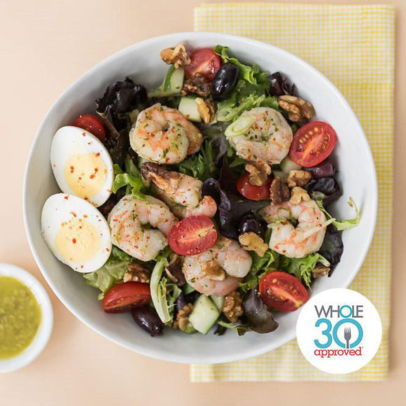 Whole30 Approved Shrimp and Walnut Salad with Basil Vinaigrette