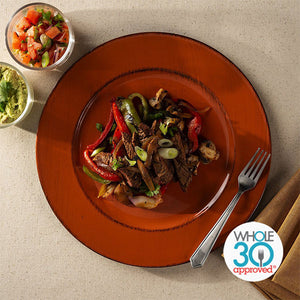 Whole30 Approved Steak Fajita Salad with Avocado Tomatillo Dressing
