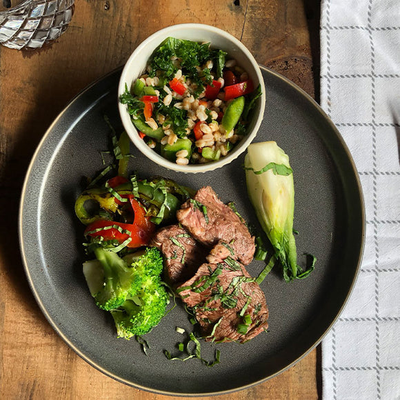 Pepper Steak with Broccoli Farro Salad