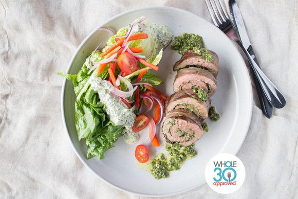 Whole30 Approved Pesto Flank Steak Pinwheels with Side Salad