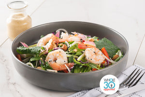 Whole30 Approved Thai Shrimp and Kale Salad with Thai Cashew Dressing