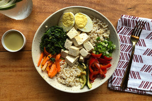 Vegetarian Tofu Bibimbap with Brown Rice